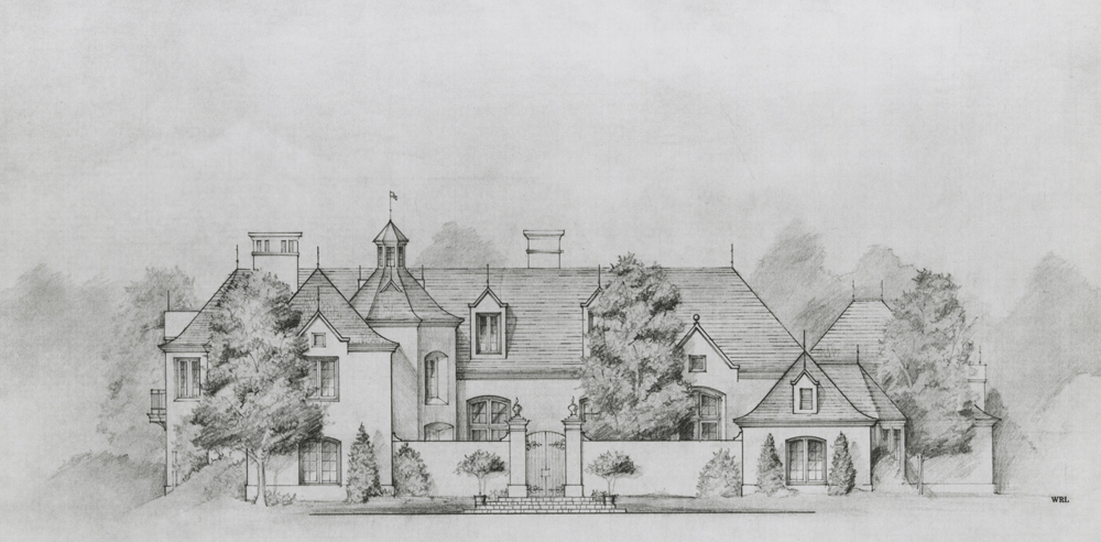 A French Chalet Style Residence proposed for Hope Ranch, California.
