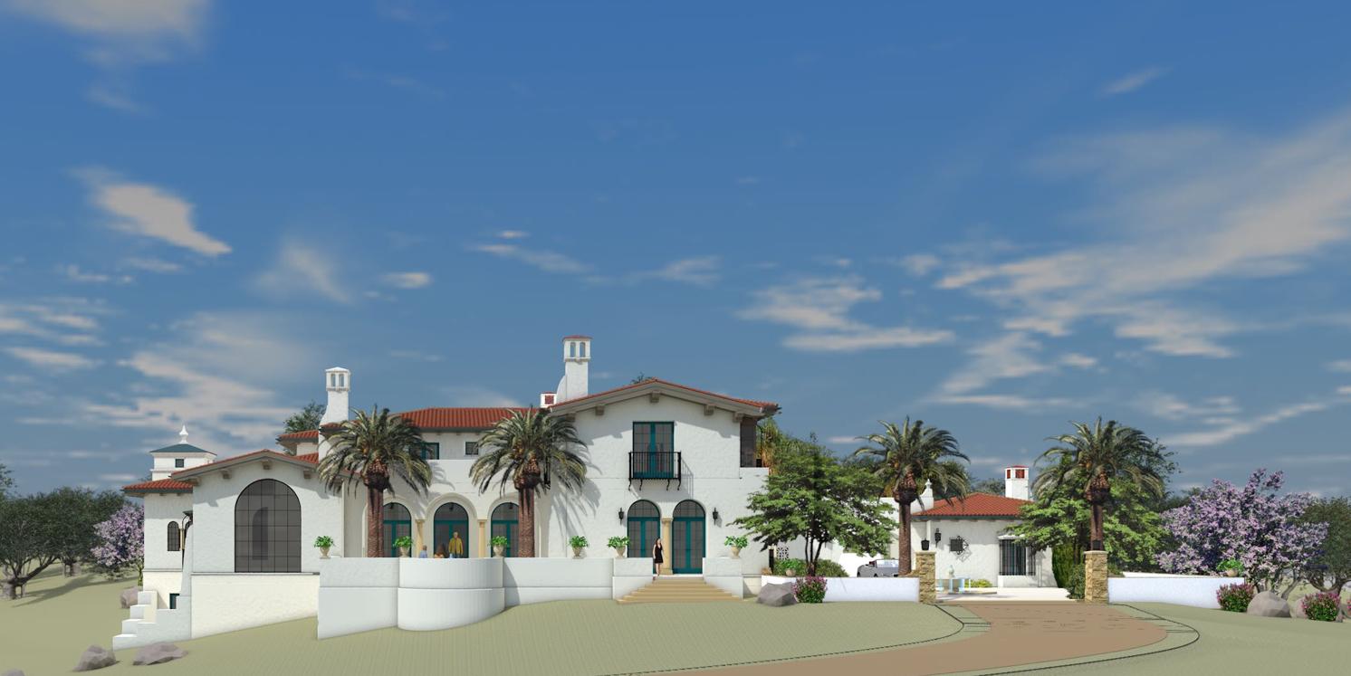 Proposed Residence,Santa Barbara, California - A RESIDENCE IN THE SANTA BARBARA MEDITERRANEAN - SPANISH COLONIAL STYLE