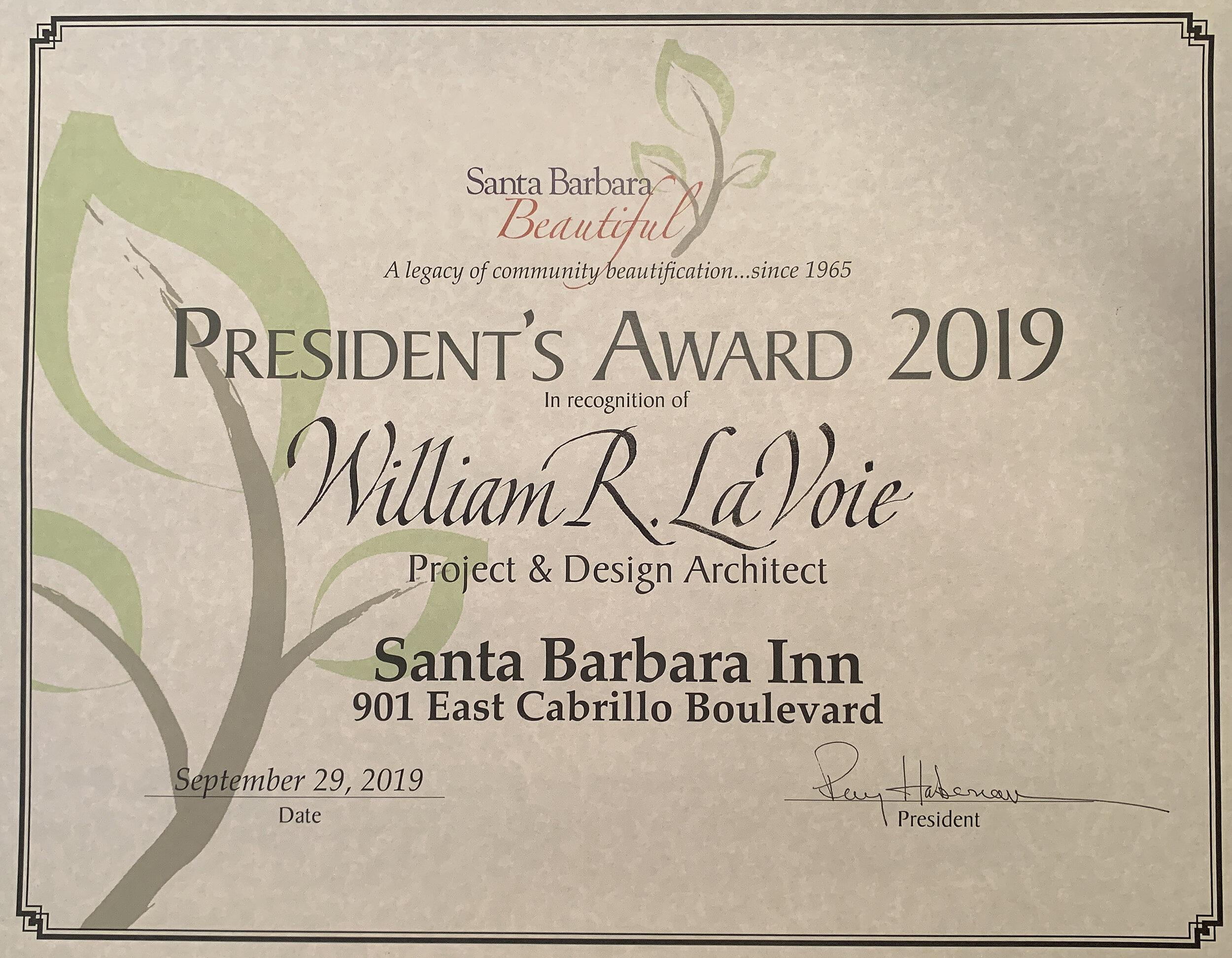 Santa Barbara Beautiful President's Award 2019.jpg
