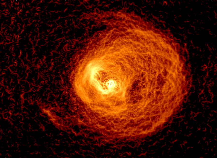 Chandra  observation of the Centaurus Cluster, a nearby X-ray cool core. An edge-detection filter has been applied, showing surface brightness discontinuities in the data. These structures have been sculpted by sloshing gas and feedback from the central supermassive black hole.