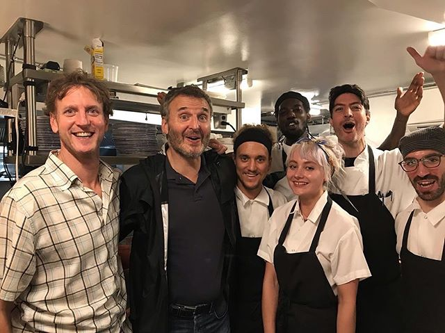 One and only @phil.rosenthal in tonight. Continuing the kitchen photos with such an excellent guy.  Thanks to @thegordinier for sending our way #forza 🇮🇹 #nyc to #italy 🙏 @stefano_secchi #somebodyfeedphil