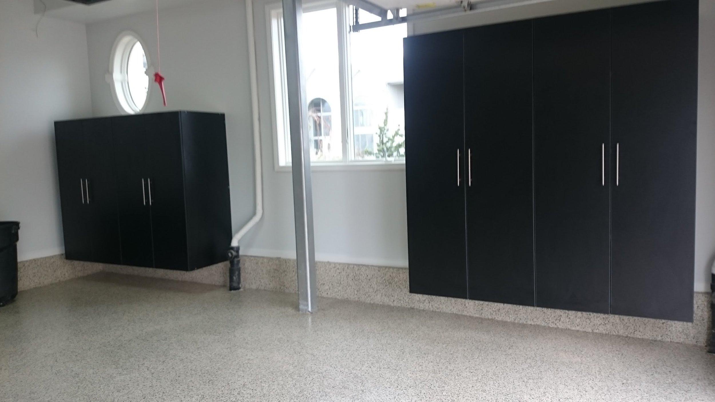 Garage concrete floor with polyurea / POLYASPARTIC coating with garage storage cabinets example