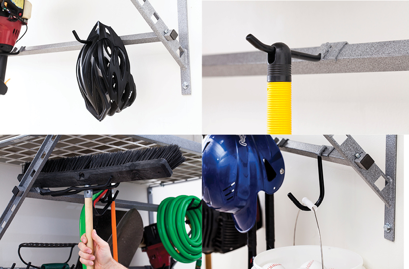 garage storage system hooks for storing sports gear and garden tools example