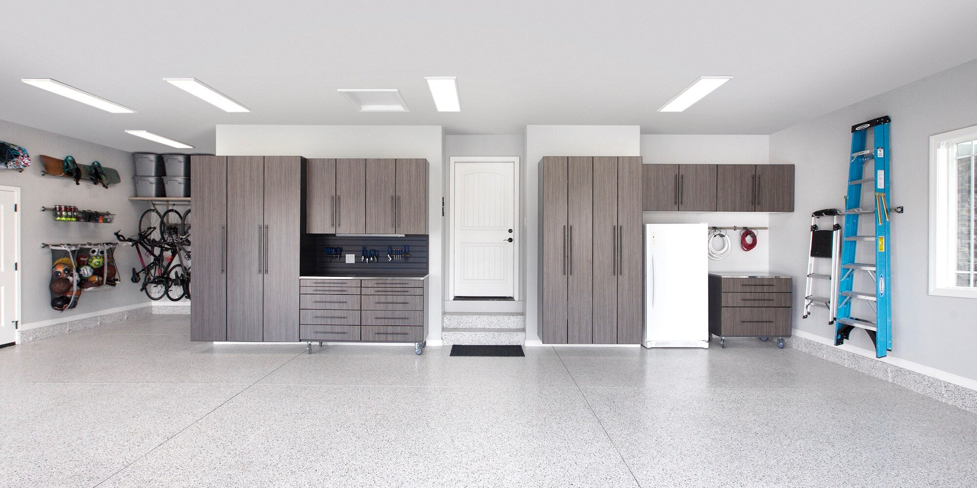 Neat Garage Storage Systems And Flooring