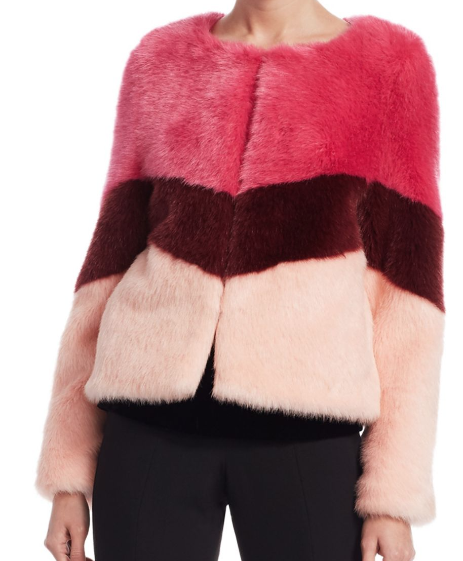 SCRIPTED Faux Fur Colorblock Jacket (orig. $395) NOW &148.12