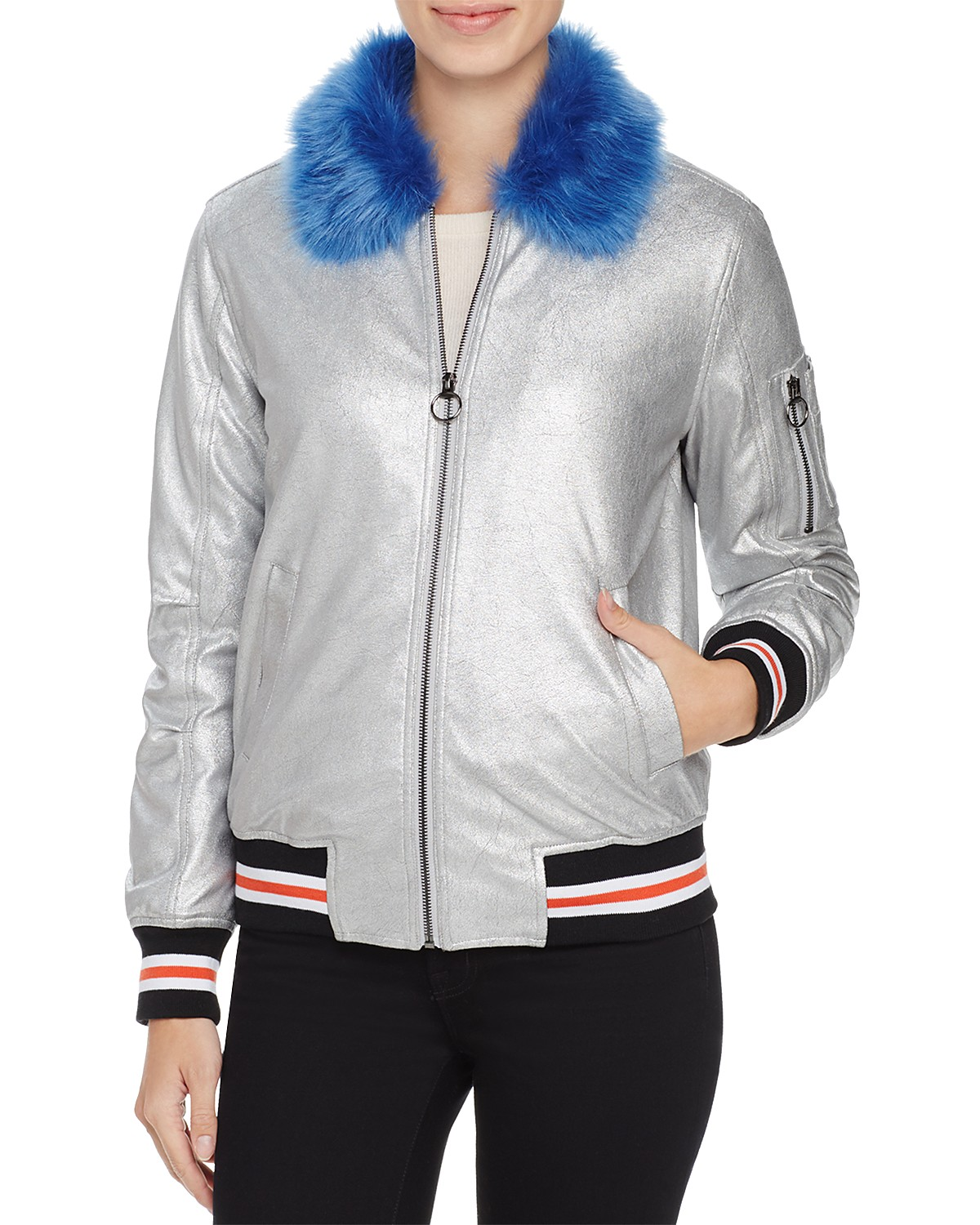 LOUISE PARIS Metallic Puffer Bomber Jacket (orig. $168) NOW $84