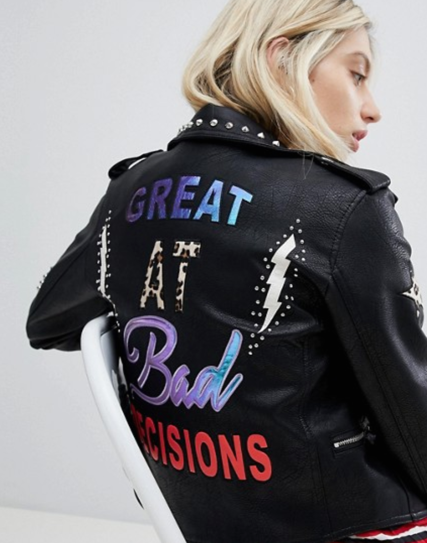 Only Leather Embroidered Look Biker Jacket With Studs $111.00
