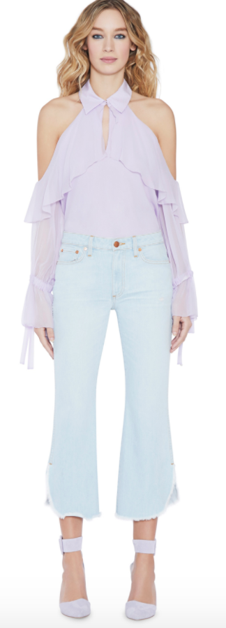 Alice + Olivia BLAYNE COLD SHOULDER BOW CUFF BLOUSE $330.00