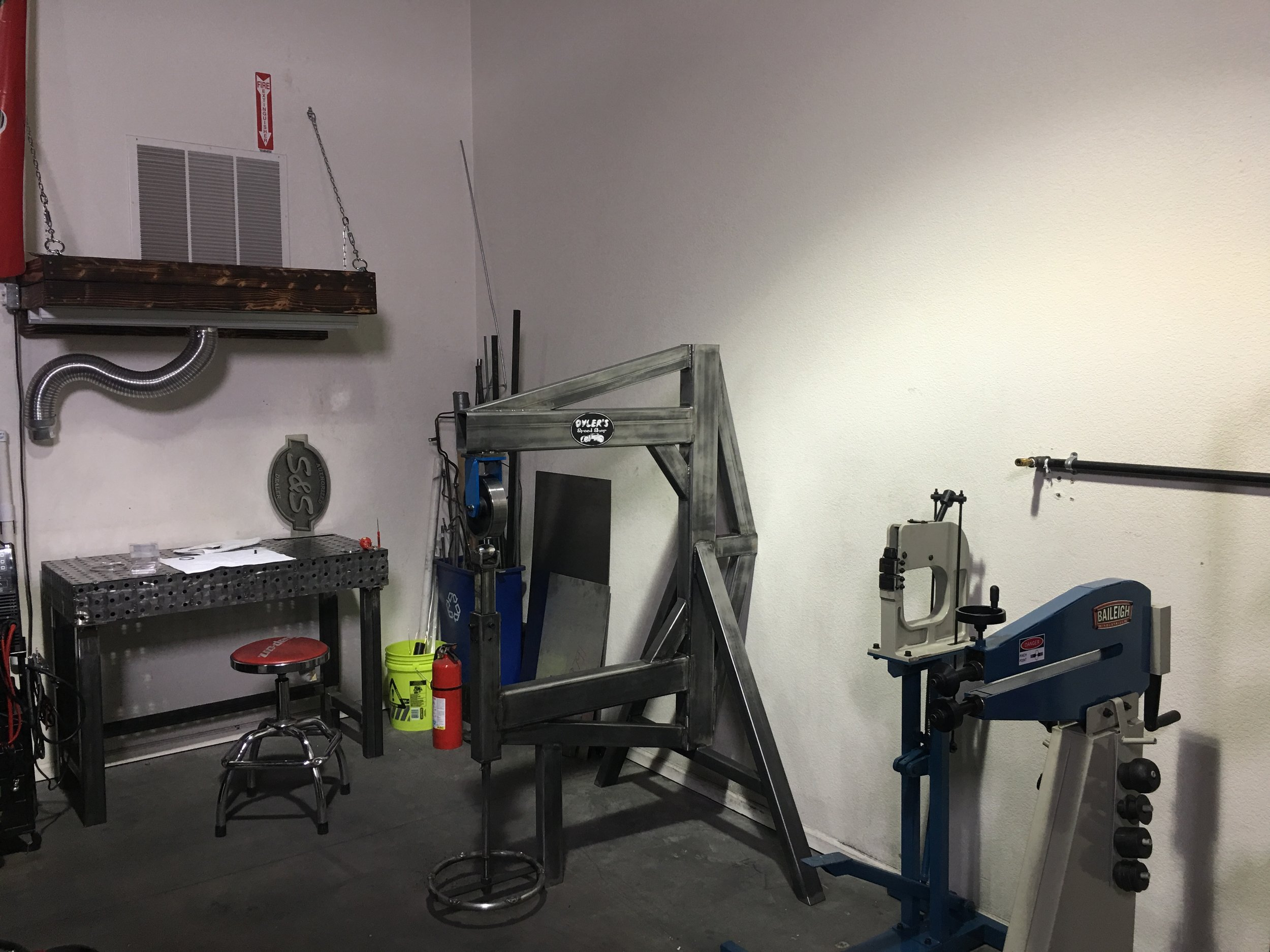 The shop's metal working area.