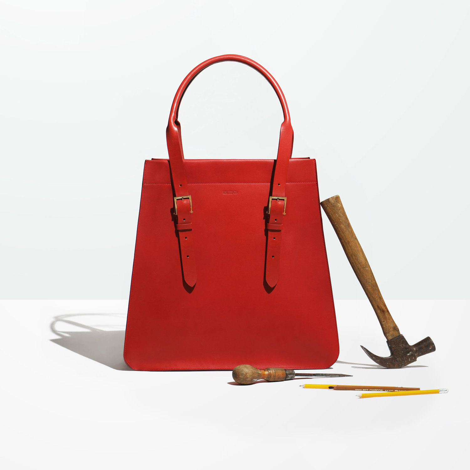 Red Leather bag still life