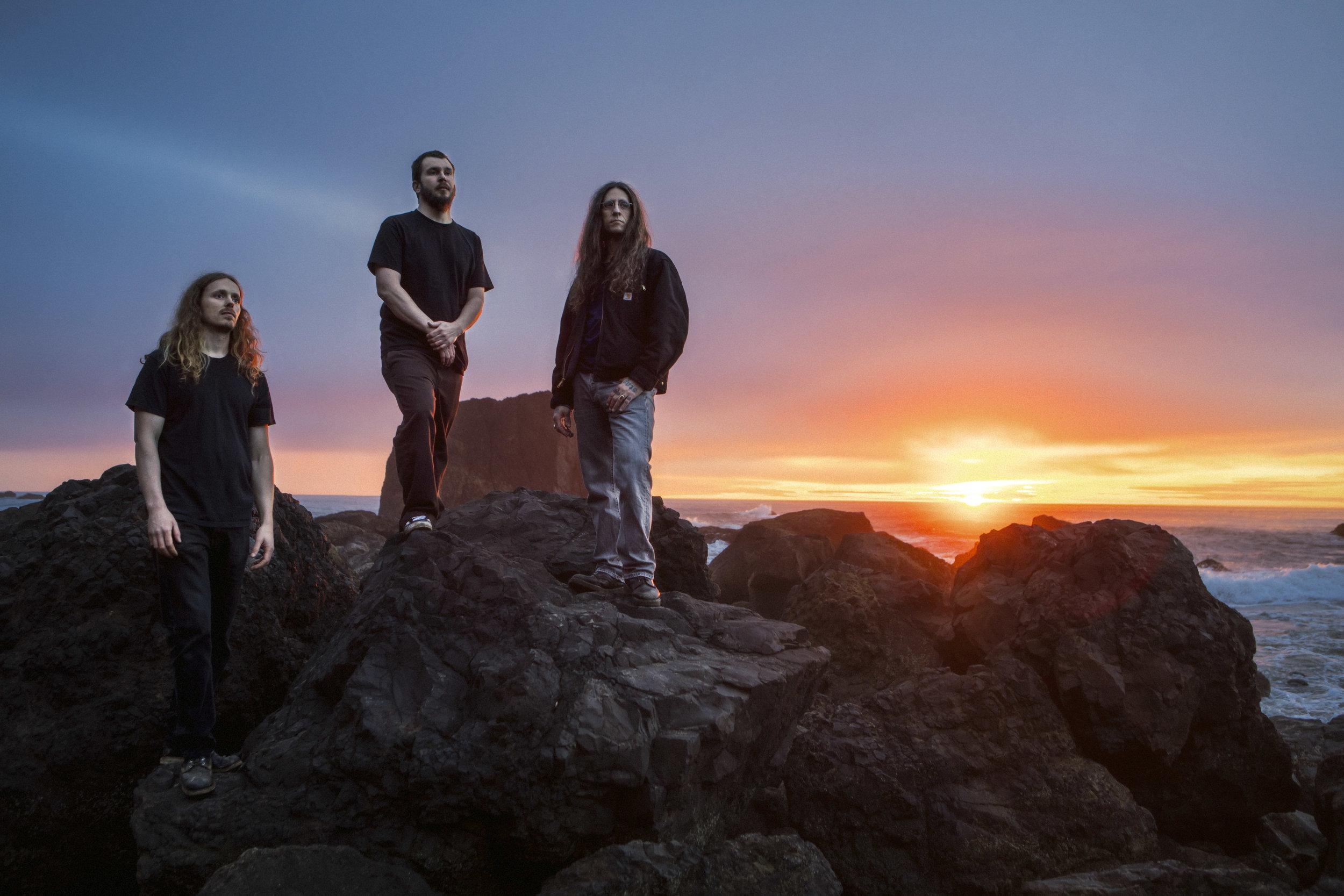 YOB is  Aaron Rieseberg – bass,    Travis Foster - drums,  Mike Scheidt – vocals/guitar . Photo by Jimmy Hubbard.