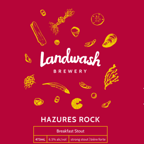 """Hazures Rock   Breakfast Stout (6.5% alc/vol)  Brewed with oats and featuring Jumping Bean's Tanzanian Roast Coffee,  Hazures' Rock  (pronounced hay-jers) is roasty and smooth with notes of chocolate and dried fruit. Named after the """"Hare's Ears"""" rock formation in Branch, NL.   Taproom/Growlers/Cans"""