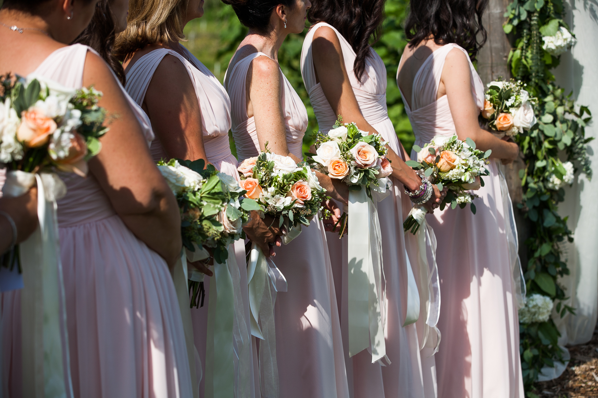 Light pink bridesmaids garden wedding
