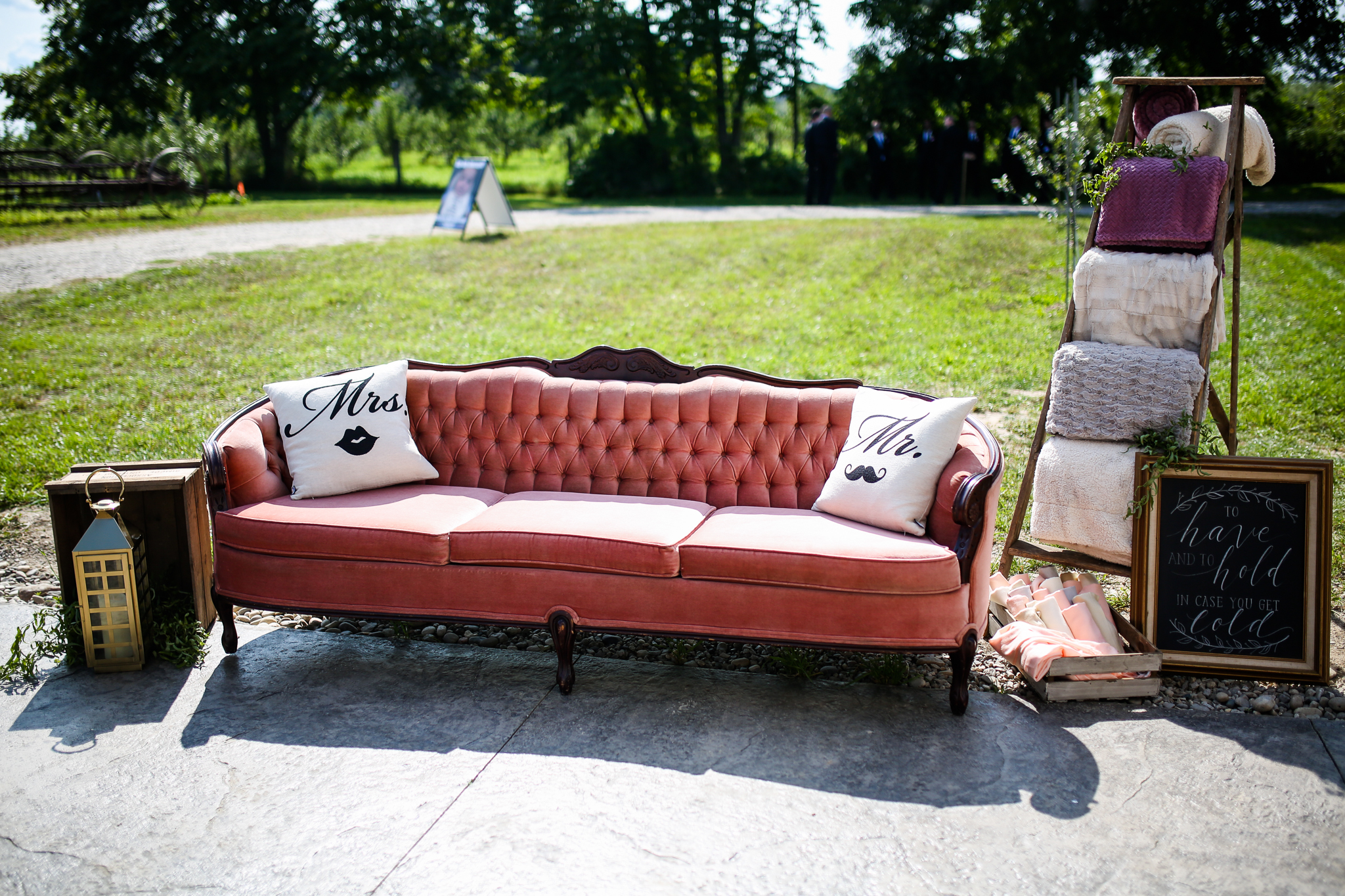 Pink Vintage Outdoor Wedding Lounge Area