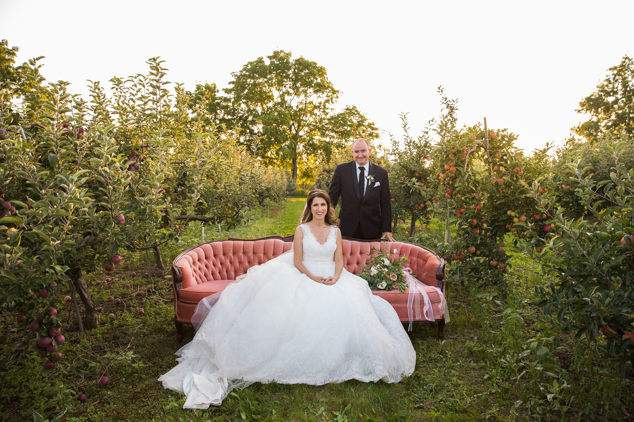 Real orchard wedding vintage couch sofa