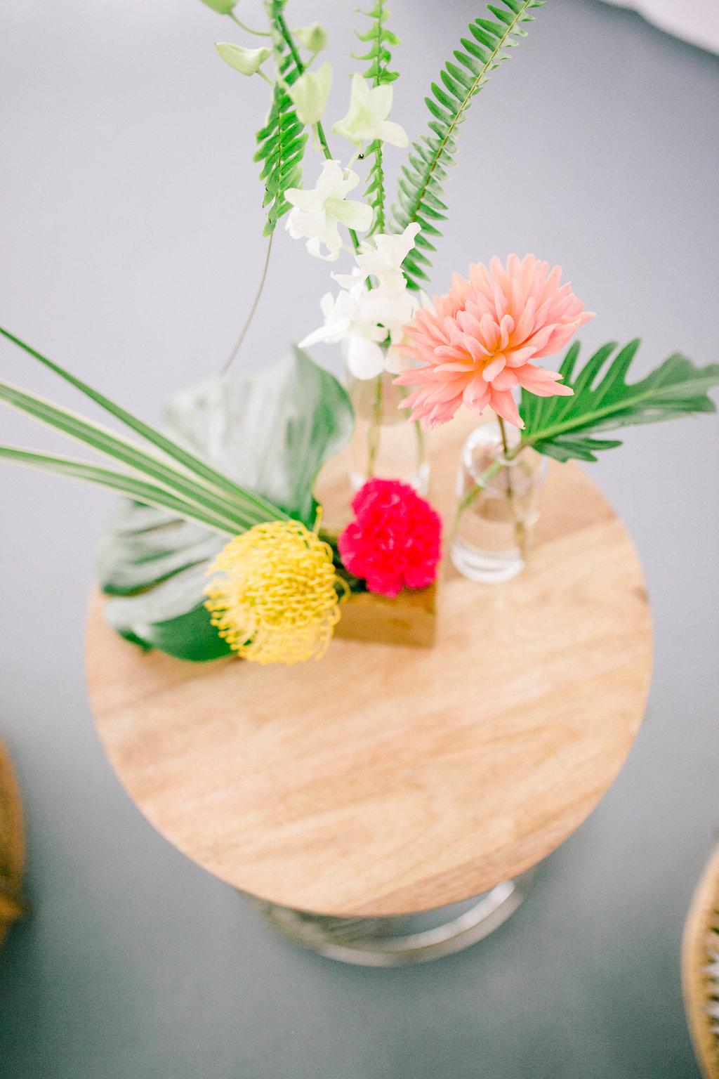 Lounge area wedding flowers