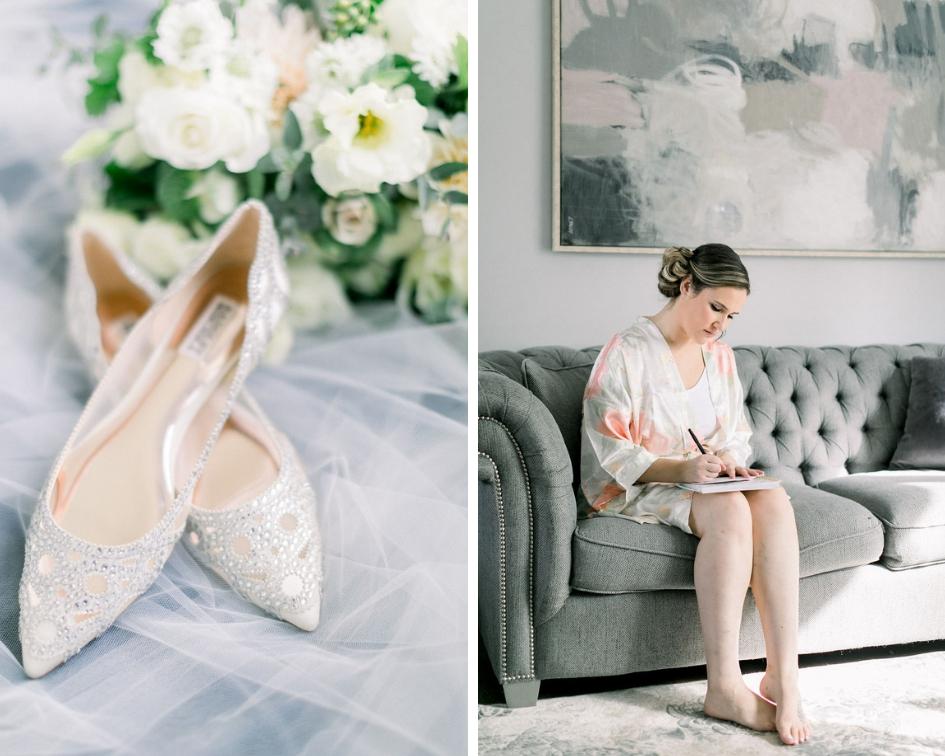 Badgley MIschka wedding shoes, bridal floral robe getting ready photos // spunkysapphire.com/blog