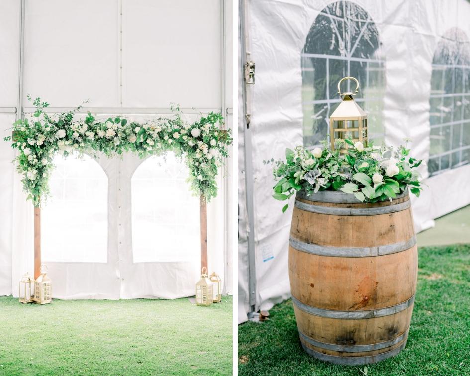 Floral ceremony arch, wine barrel ceremony, wedding gold lantern // spunkysapphire.com/blog