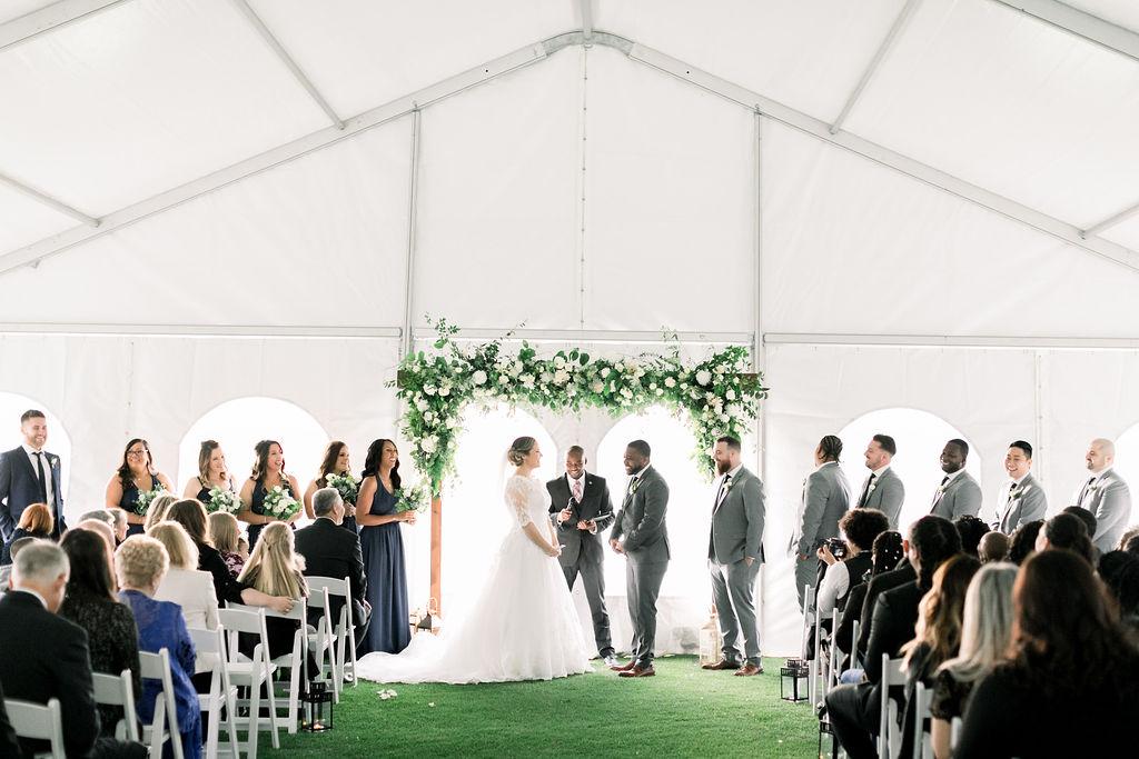 Blush White Floral Ceremony Arch // spunkysapphire.com/blog