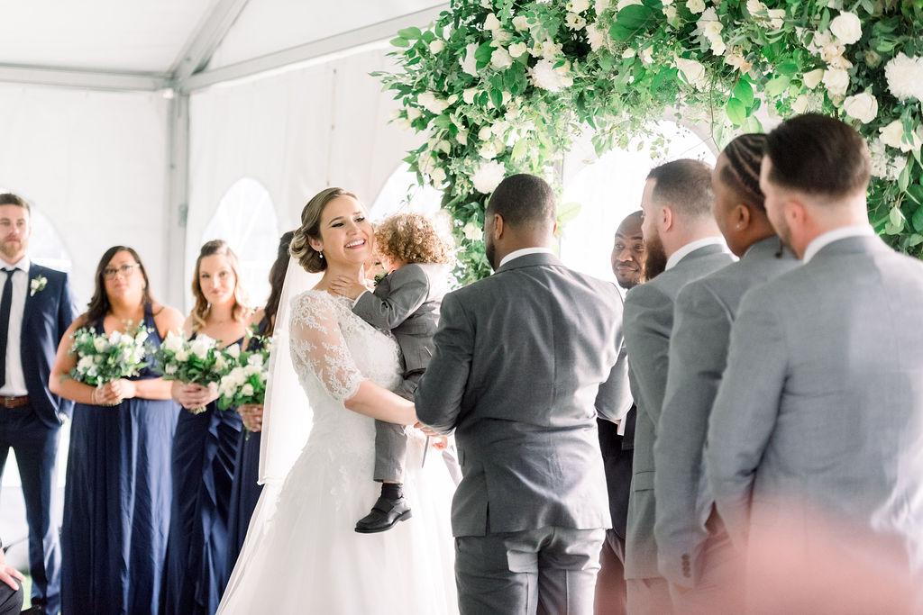 Blush and Greenery wedding ceremony arch // spunkysapphire.com/blog