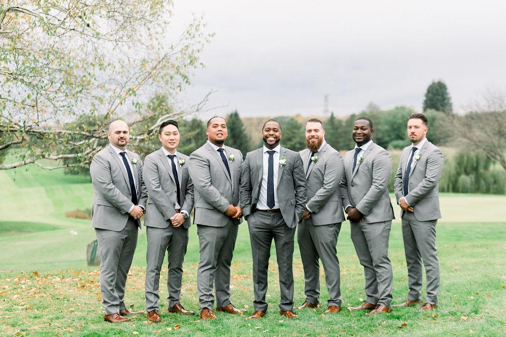 Grey Wedding Suit Groomsmen Black Tie // spunkysapphire.com/blog