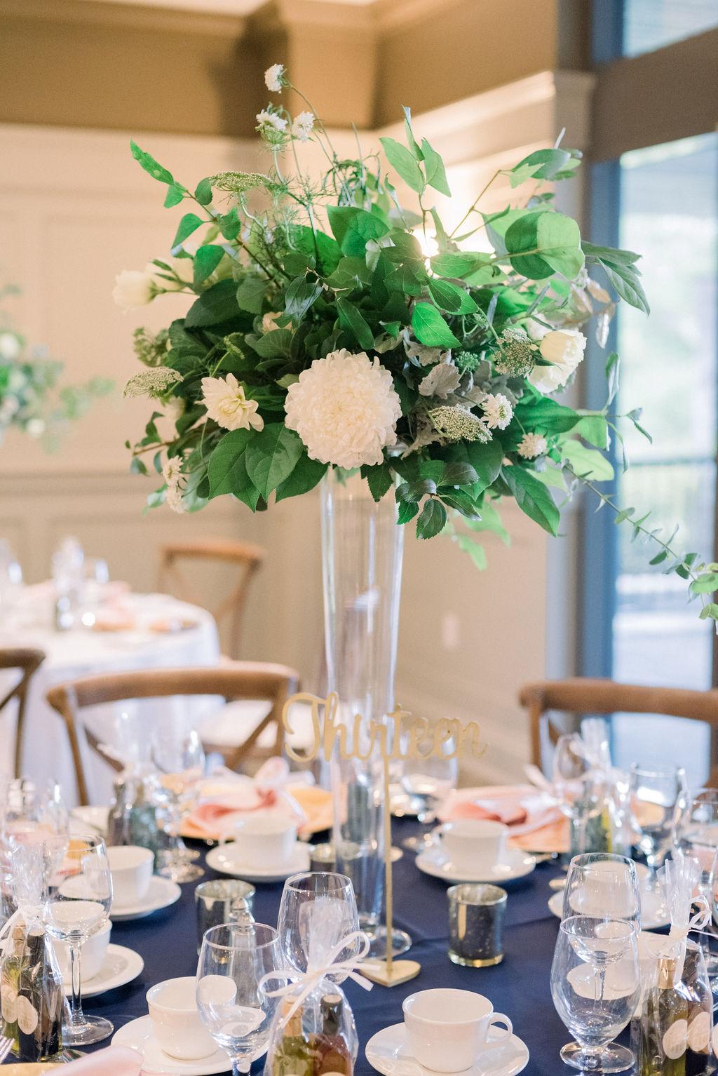 Tall white and green wedding reception centerpiece // spunkysapphire.com/blog