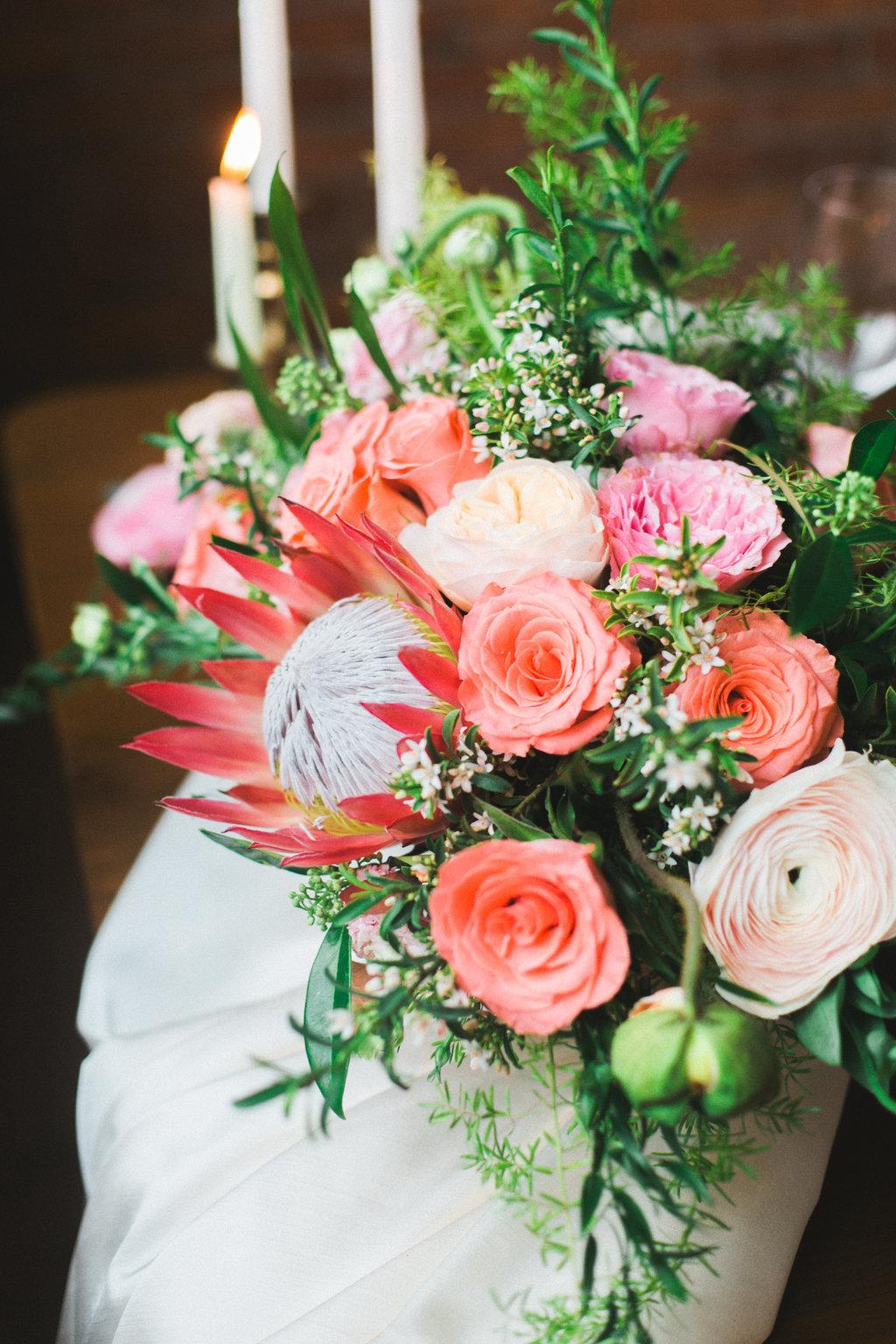 protea coral wedding centerpiece - spunkysapphire.com