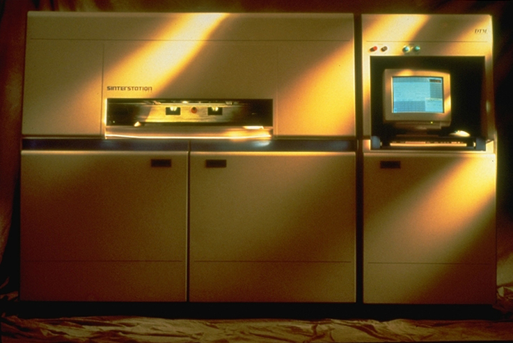 1993: DTM Sinterstation 2000 - a 3D printer of nylon and metals. Note the monitor on the controls cabinet.