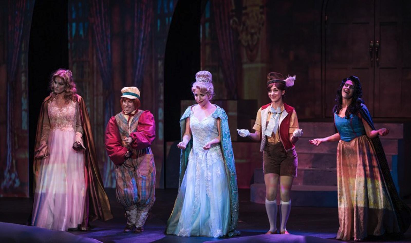 Jennifer Byrne as Sleeping Beauty, Jordan Aragon as Jack, Hannah Record as Cinderella, Courtney Capek as Pinocchio, and Aléna Watters as Snow White. Photo courtesy of Tuacahn.