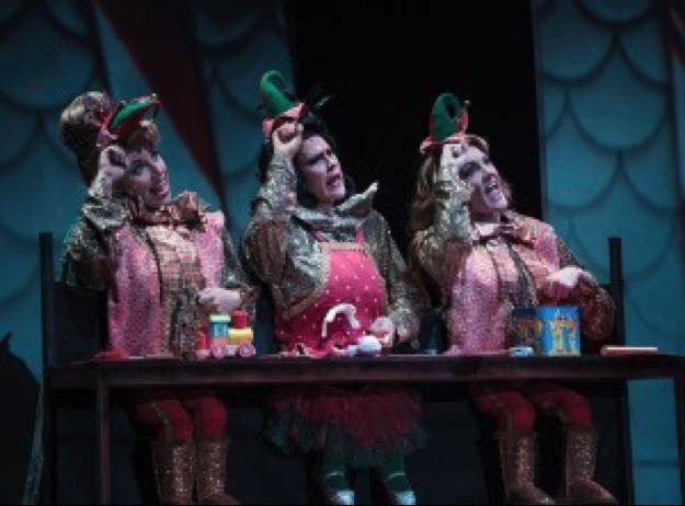 Hannah Record as Singing Elf, Aléna Watters as Singing Elf, and Jennifer Byrne as Singing Elf. Photo courtesy of Tuacahn.