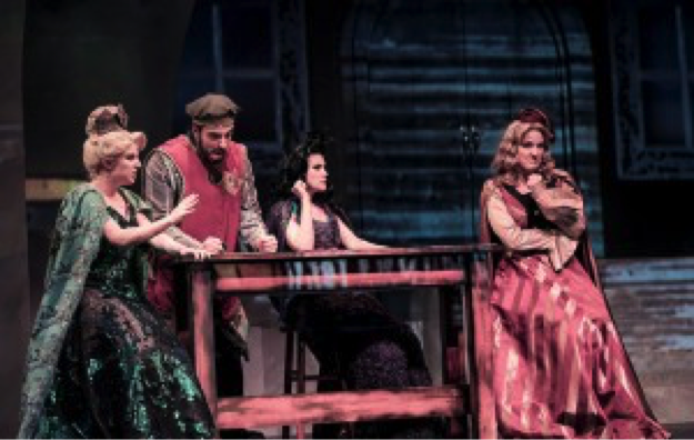 Hannah Record as Drama Queen, Matt Ban as Giant, Aléna Watters as Medoza, and Jennifer Byrne as Agatha. Photo courtesy of Tuacahn.