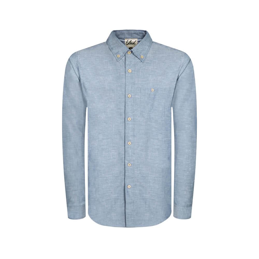 BLEED CLOTHING - Blue Oxford Shirt in Hemp & Organic cotton.
