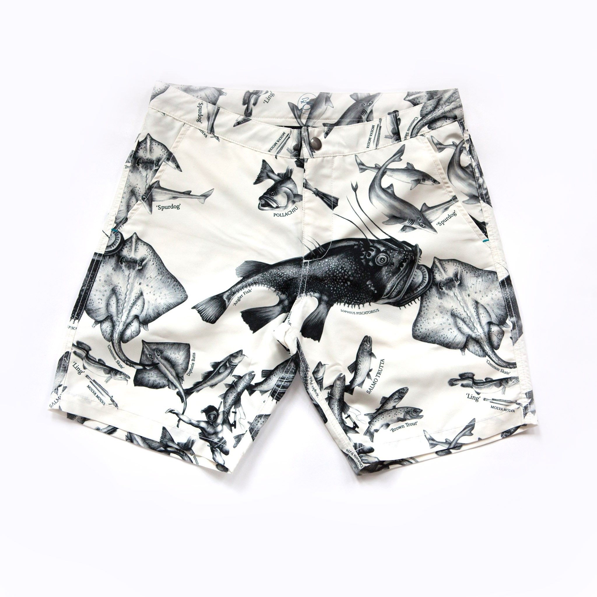 RIZ BOARDSHORTS - Braunton Endangered Fish Board Short made from recycled polyester.