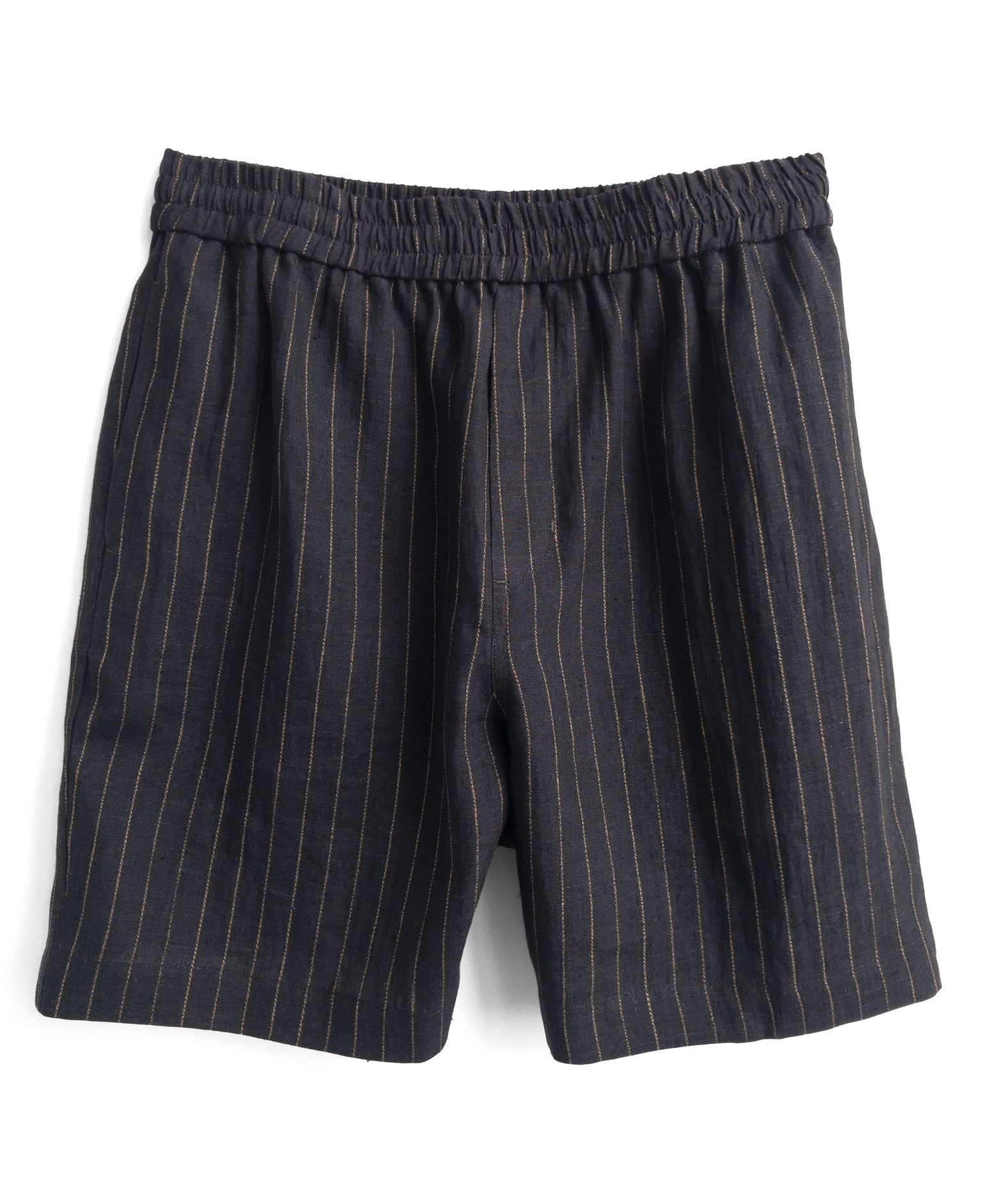 Fanmail - Indigo pinstripe sport short in linen with organic cotton pocketing.
