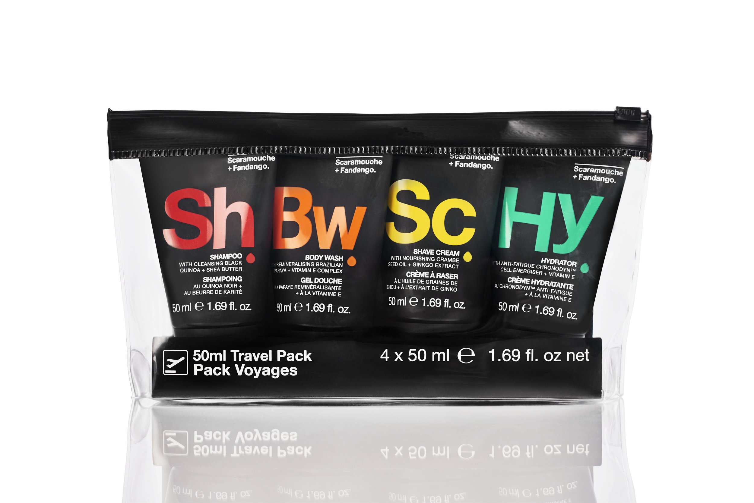 Scaramouche + Fandango - Body and skincare essentials in travel friendly sizes packaged in a handy pouch. The set includes a Shampoo, Body wash, Shave cream and Hydrator all in 50ml sizes.