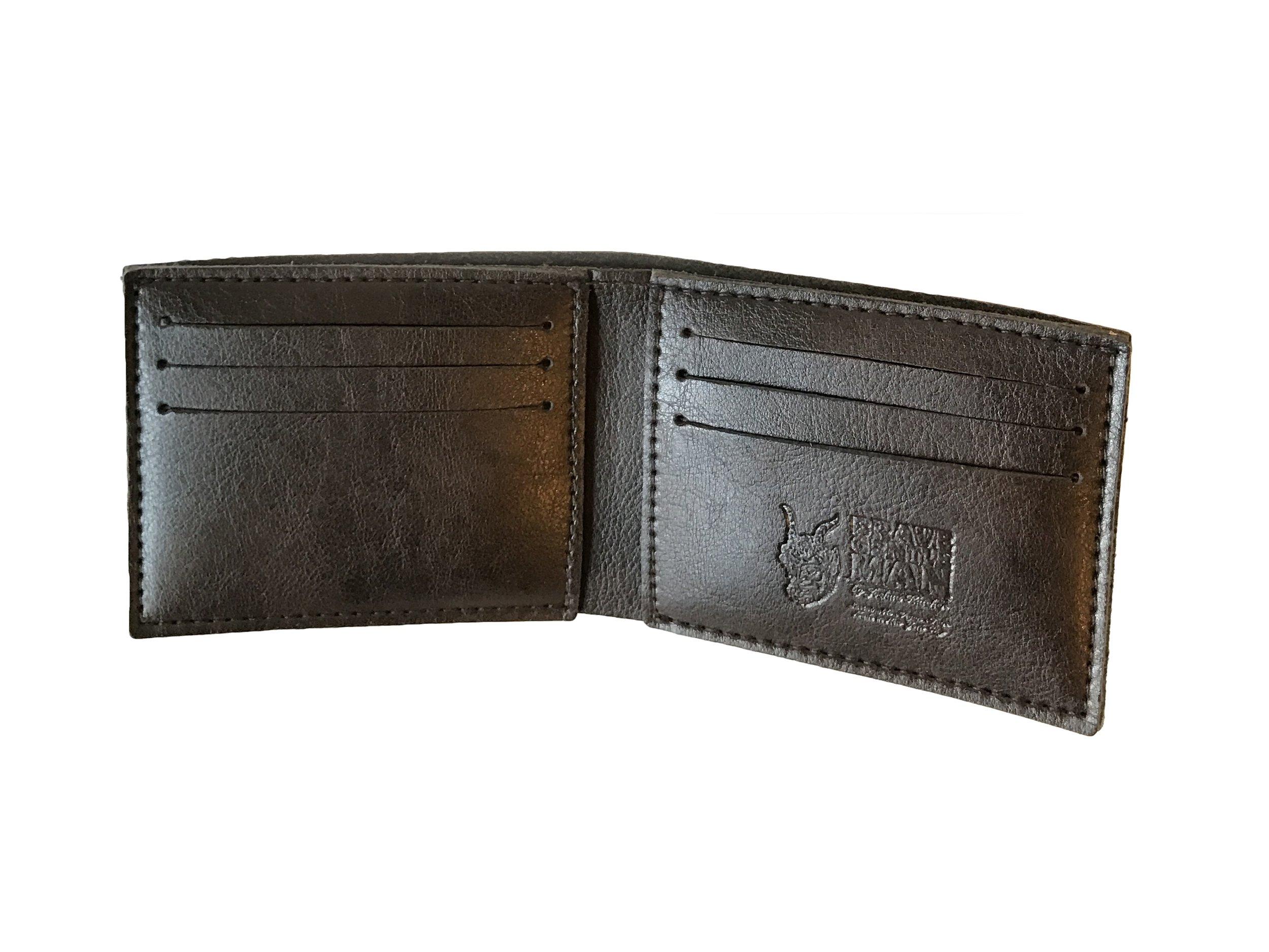Brave GentleMAn - Handcut wallet in dark brown, Italian vegan leather.