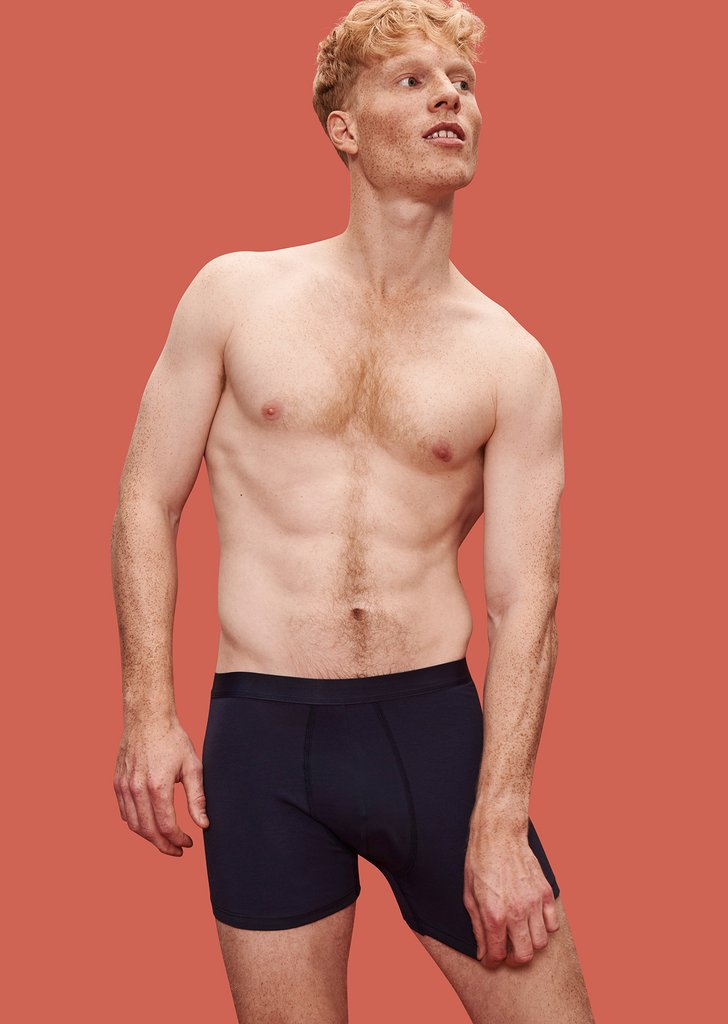 underneath - Navy blue boxer briefs in GOTS-certified organic cotton.Organic Basics. Two pack $44