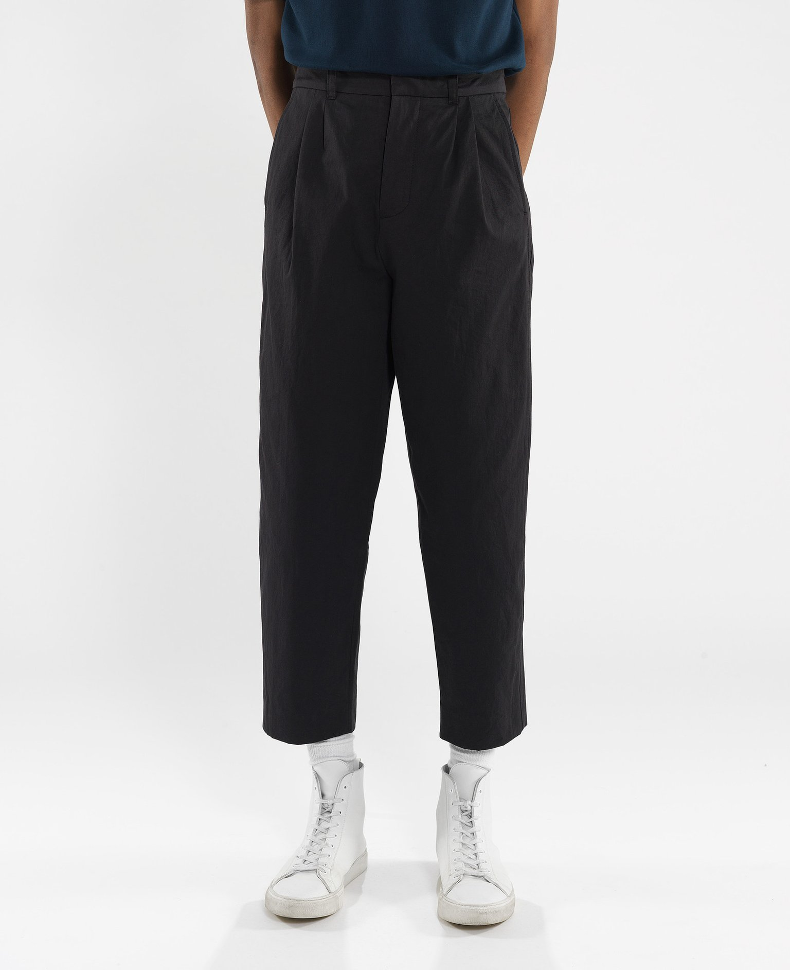 bottoms up - Pleated trousers in 100% GOTS-certified organic cotton gabardine imported from japan. Fanmail. $140