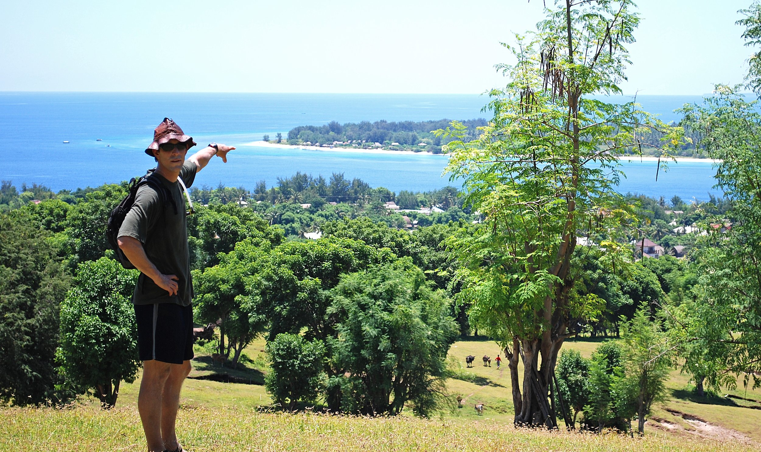 I'm either pointing at Gili Meno or where I planned to hide my shame.