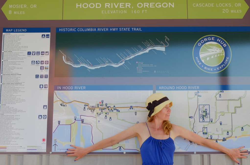 Megan in front of Historic Columbia Highway Trailhead sign.JPG