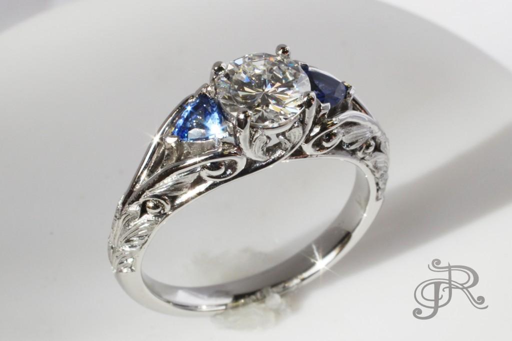 Platinum, Diamond and light blue Sapphires
