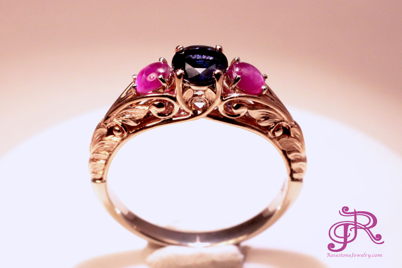Two-tone Rose and White Gold Sapphire and Ruby Cabochon