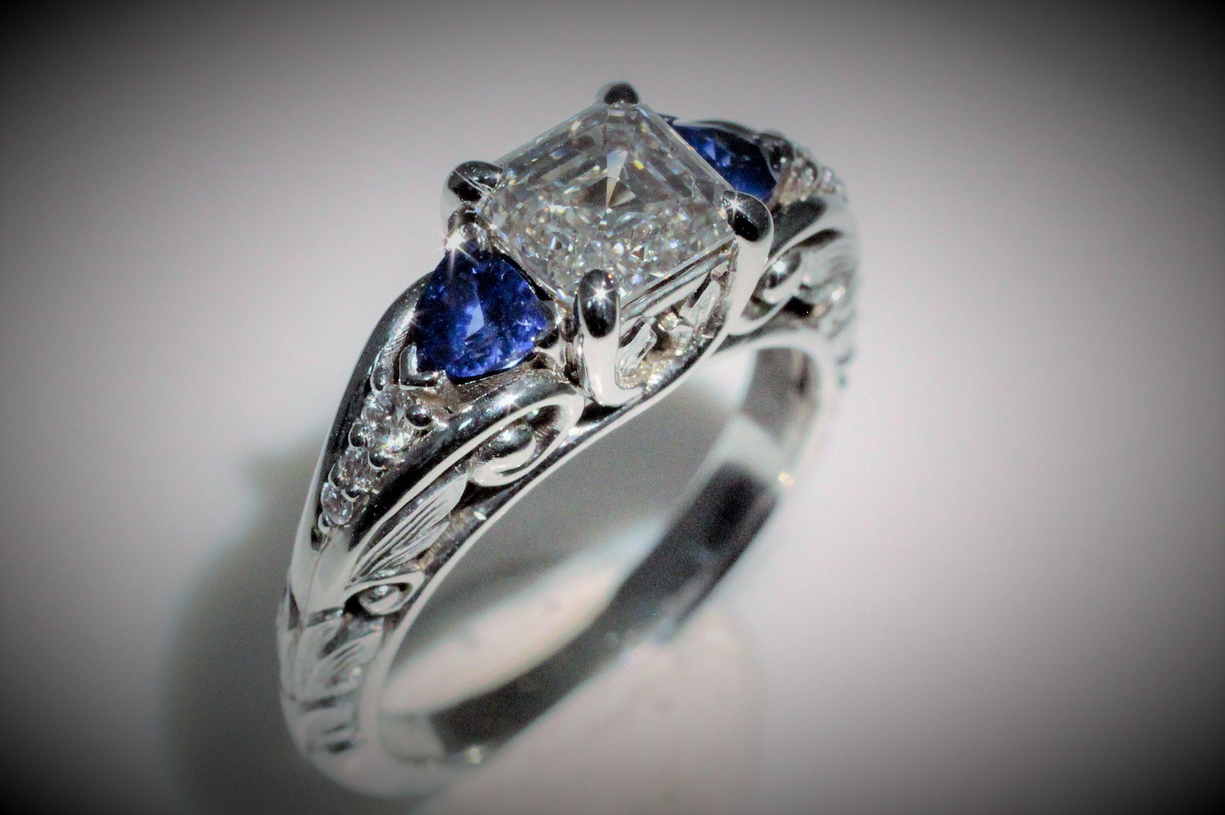 Asscher-cut Diamond and Sapphire and 6 accent diamonds