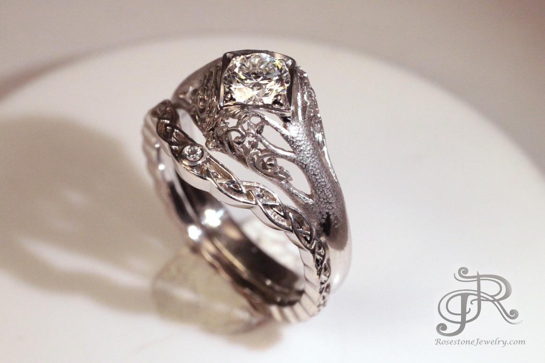 Tree Of Life Engagement Ring Rosestone Jewelry