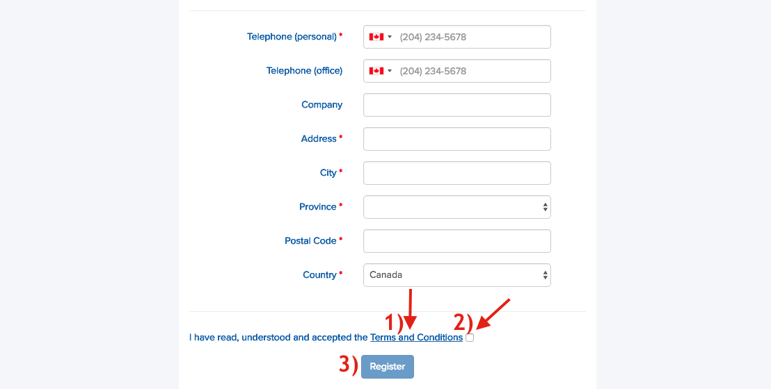 2. Entering your information & viewing terms and conditions - On the registration page, you will be asked to enter your personal information. The sections with a red asterisk (*) are mandatory. Once you are done, please ensure to 1) Open the terms and conditions. Please note that they are currently only available in French and are in the process of being translated. 2) Once you've opened and read the terms and conditions, you may now click in the box to confirm that you've done so. 3) Click register. At this moment, the system will send you an e-mail to confirm that your e-mail address is correct and in this e-mail you should click on the link in BLUE in order to activate your account.
