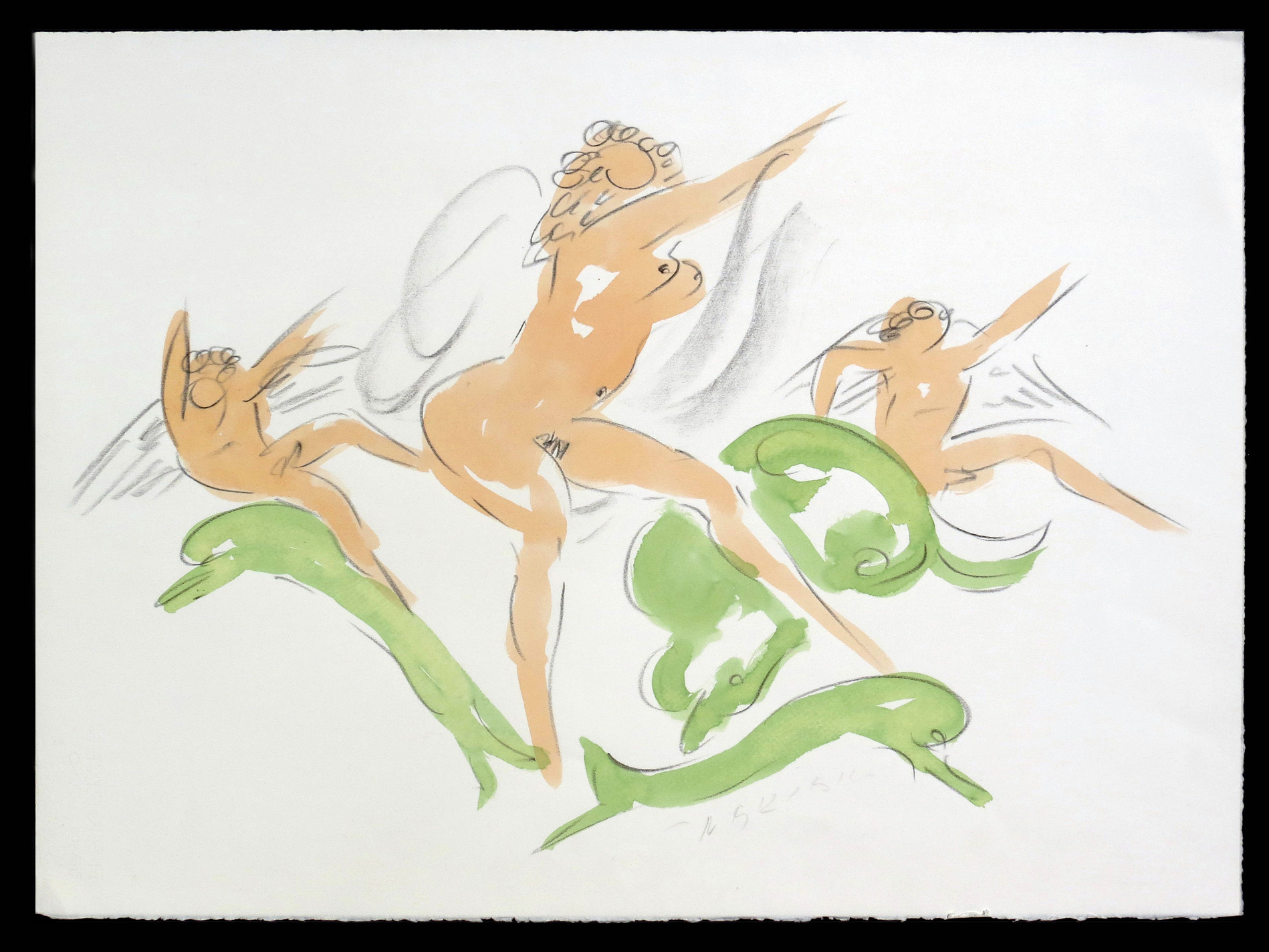 """Nymph with Cupids and Dolphins  1982-85, black litho crayon and colored wash on paper 20 7/8 x 28 3/8"""" Nakian Estate 60.80-158"""