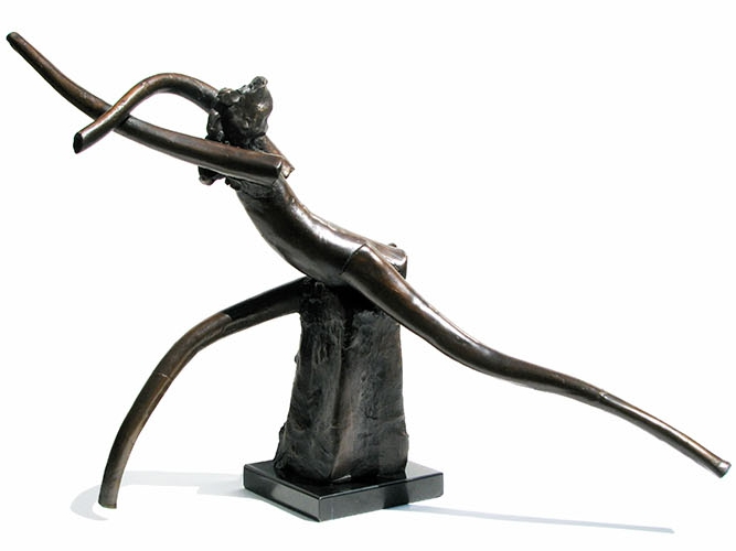 """Running Nymph  1980, bronze 21 x 34 x 12"""" Private collections 30.167"""