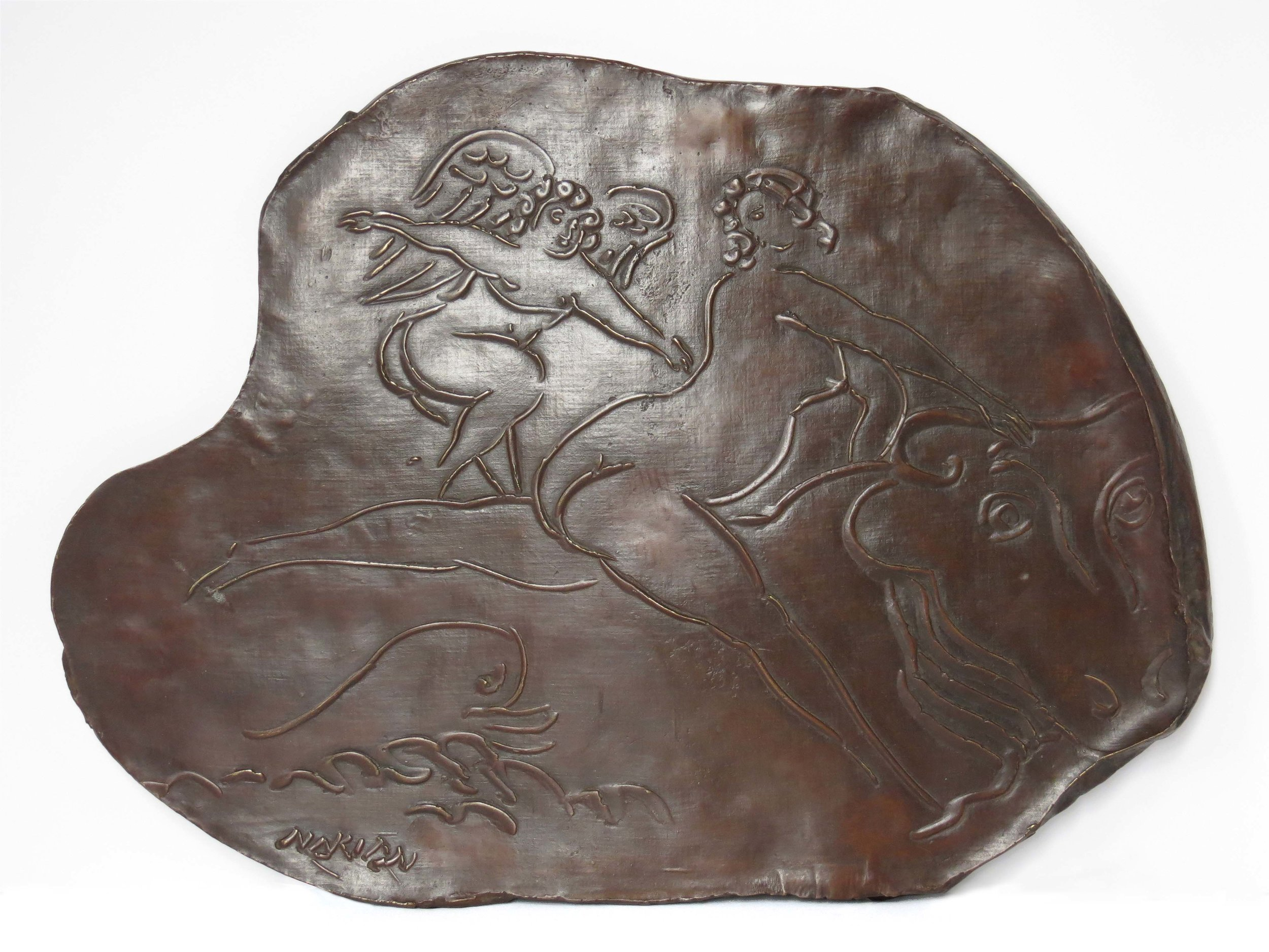 "Voyage to Crete  c.1970, bronze hanging plaque 15 x 21 x 2 ⅝"" Private collections 30.362"