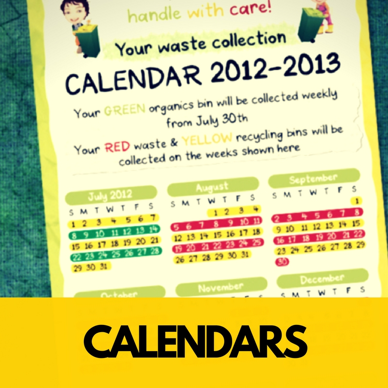 Help everyone to know 'what bin goes out when'  With our beautiful customised calendars.
