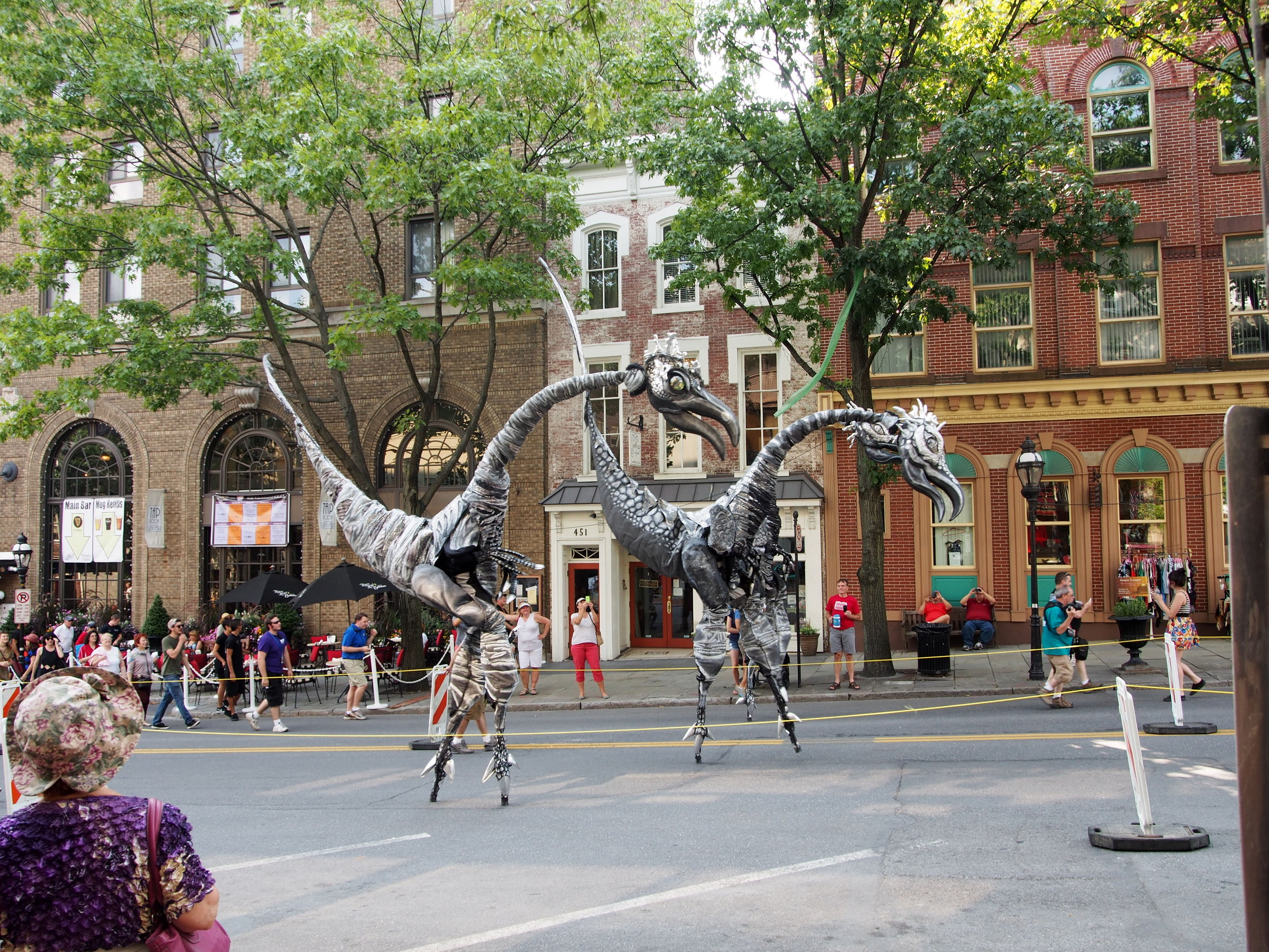 The  Close Act Theatre Company  performing  'Saurus'  at Musikfest on Main Street, Bethlehem, 2014